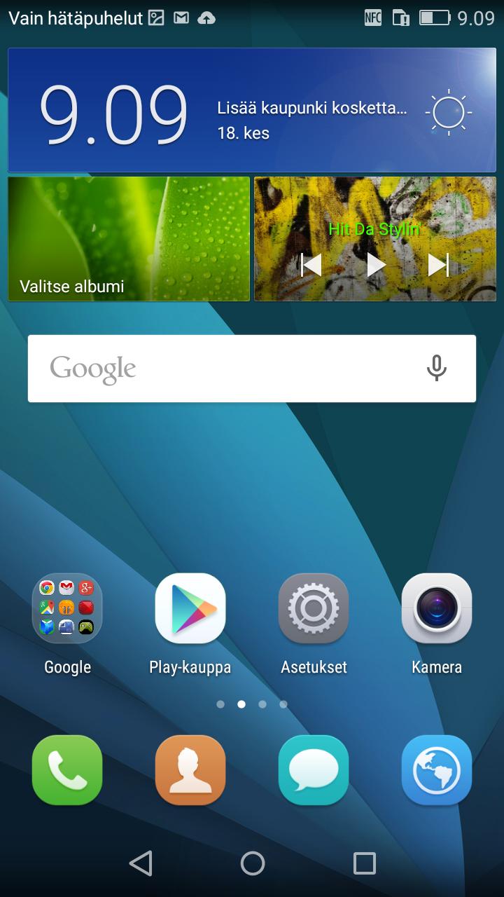 Huawei P8 Lite aloitusnäyttö