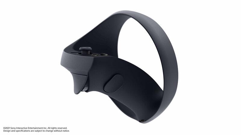 PS5-konsolin VR-ohjain kuvattuna sivulta
