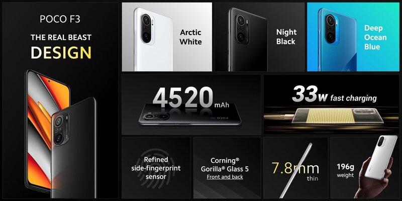 Poco F3 puhelimen desing ja teknisiä ominaisuuksia