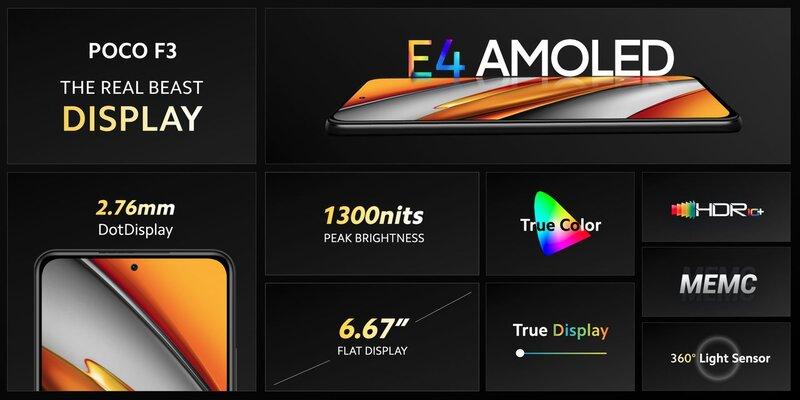 Poco F3 puhelimen näytön keskeisimmät ominaisuudet