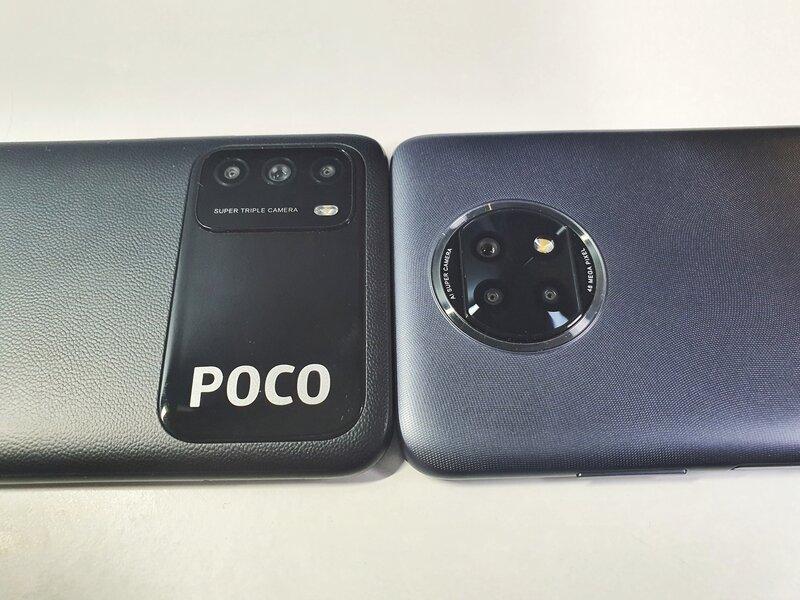 Poco M3 ja Redmi Note 9T puhelimien kamera-alueet