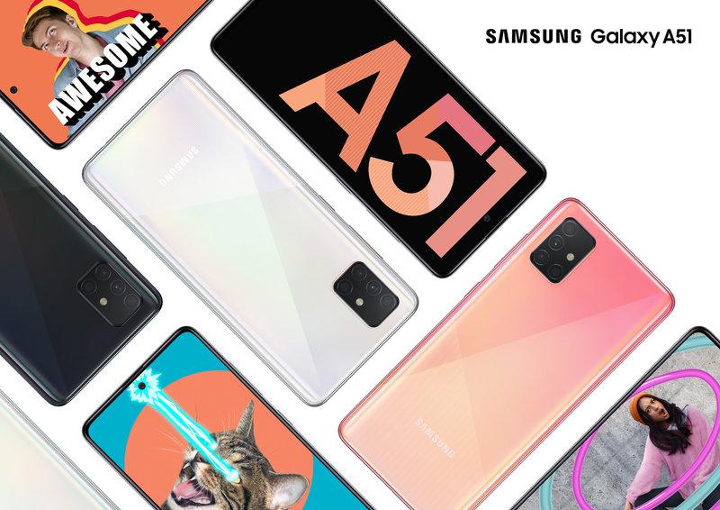 Galaxy A51 edestä ja takaa