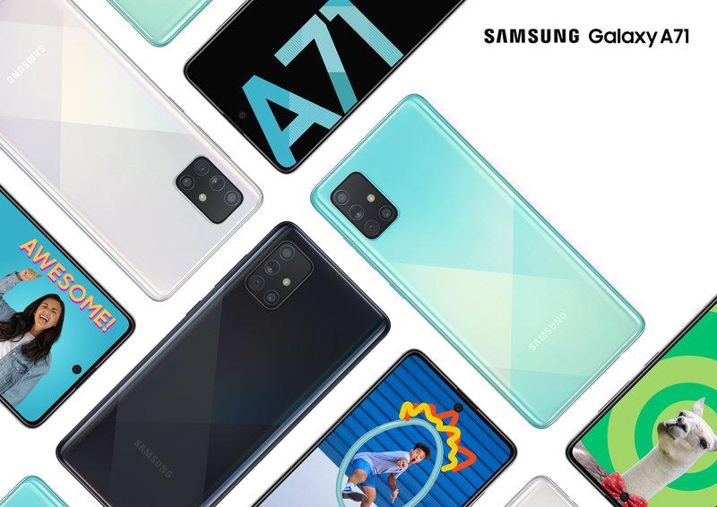Galaxy A71 edestä ja takaa