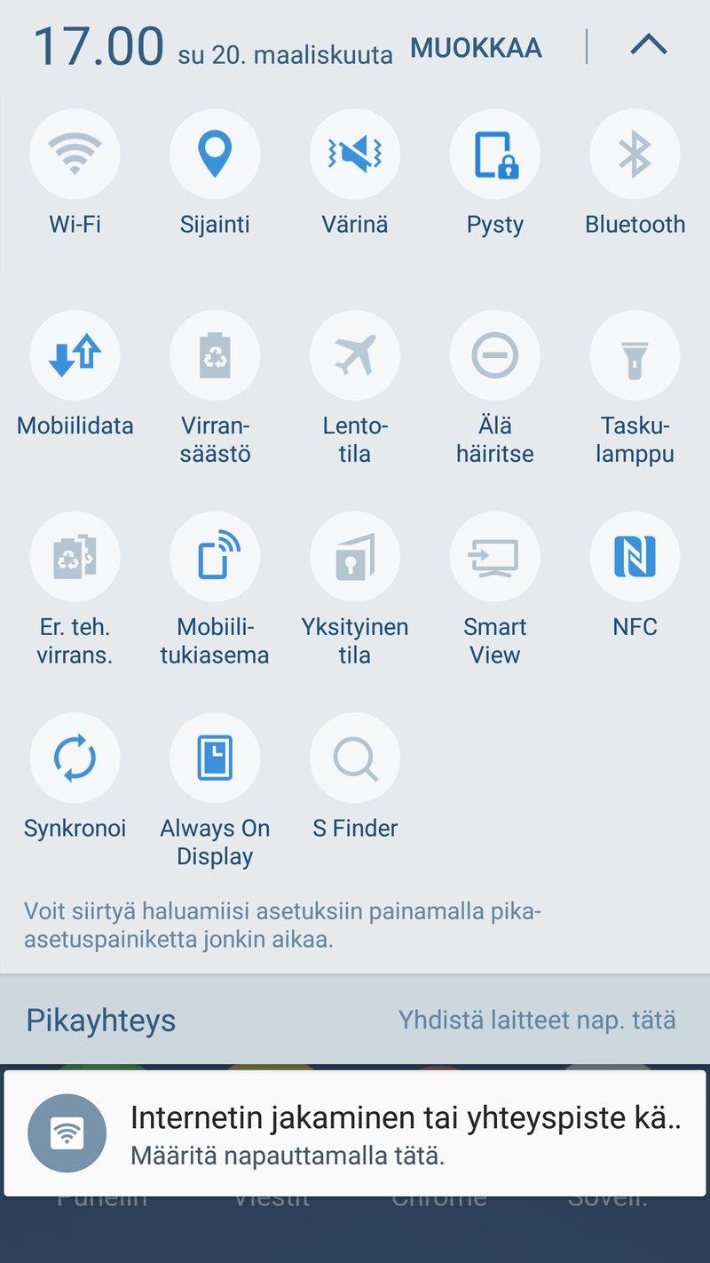 Samsung Galaxy S7 edge - ilmoitusnäyttö
