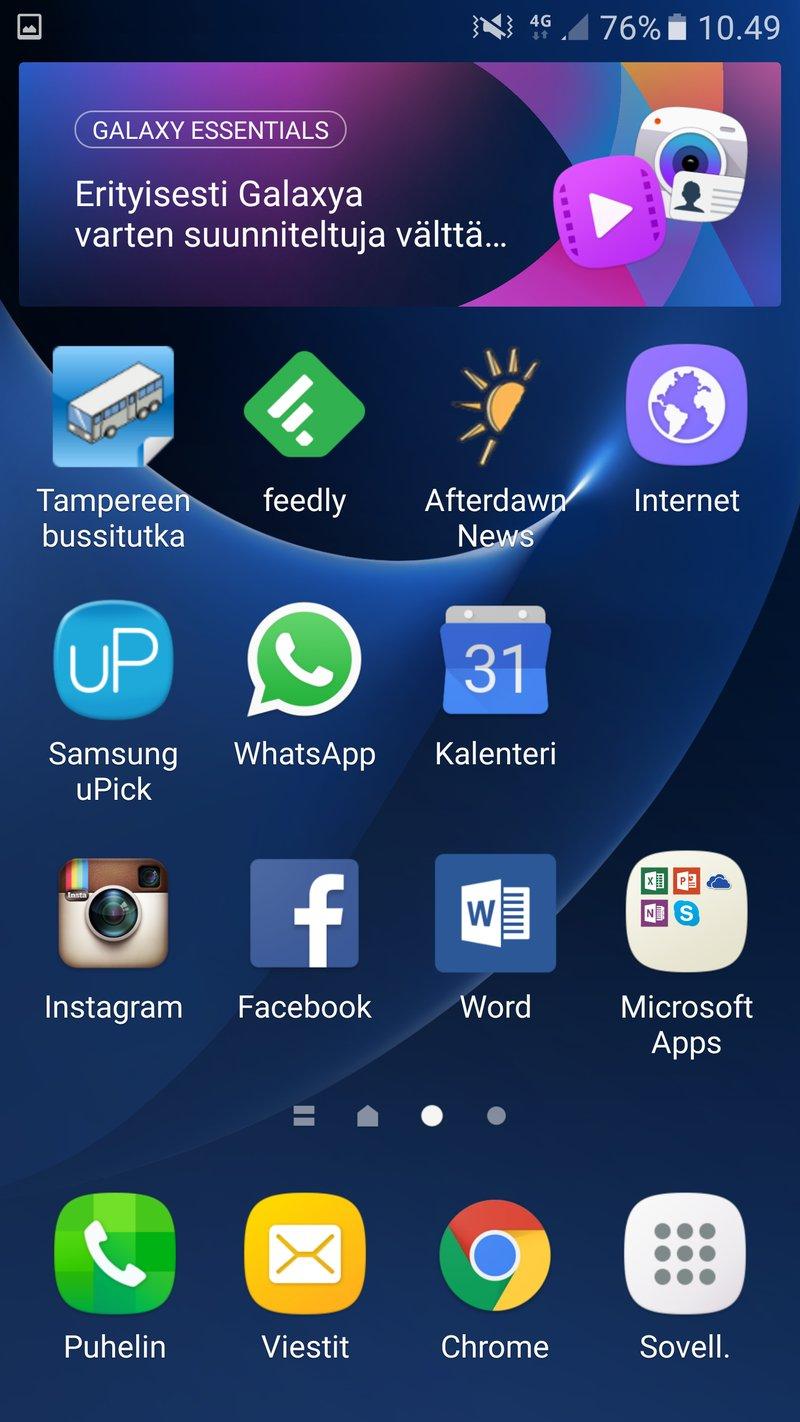 Samsung Galaxy S7 edge - kotinäkymä