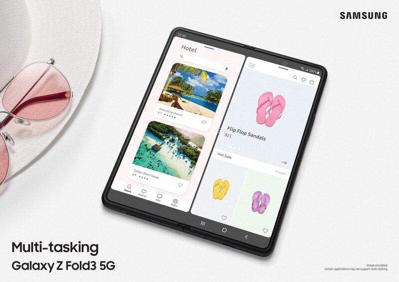 Galaxy Z Fold 3n näytöllä avattuna kaksi eri sovellusta