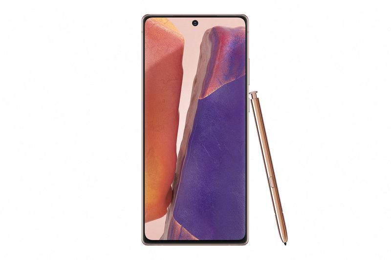 Galaxy Note20 edestä S Pen kynän kanssa