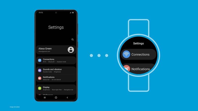 One UI puhelimen asetukset yhdessä One UI Watch kellon kanssa