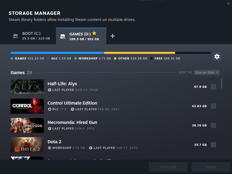 Steamin uudistettu tallennustilan hallinnointi näyttämässä pelit jaettuna useammalle levylle