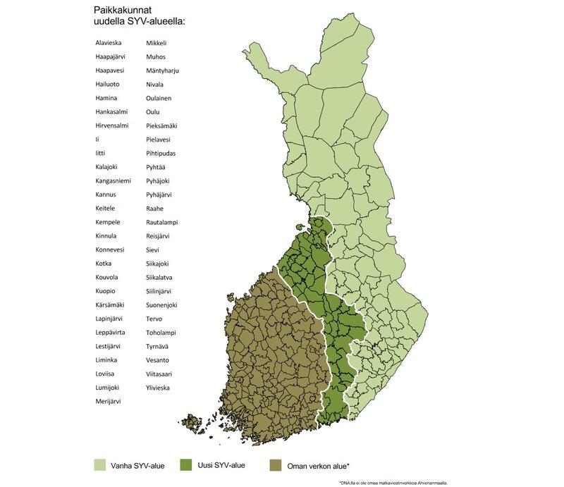 Suomen yhteisverkon uudet alueet vuodelle 2021