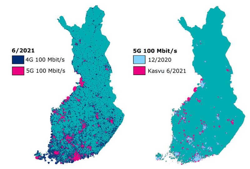 Matkaviestinverkon 4G ja 5G sadan megan saatavuus ja 5G-mobiiliverkon kehitys vuoden 2021 ensimmäisen puoliskon aikana verrattuna vuoden 2020 lopun tilanteeseen