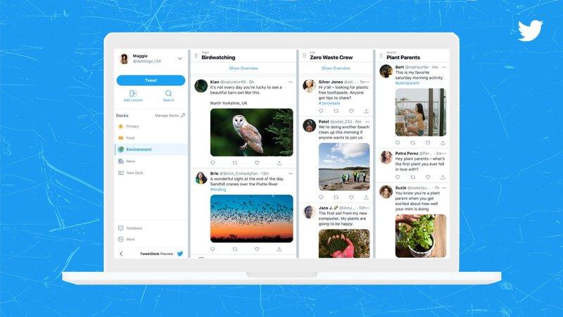 Uudistetun TweetDeckin sivupalkissa on uusi Decks ominaisuus