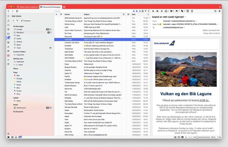 Vivaldin sisäänrakennettu sähköpostiohjelma