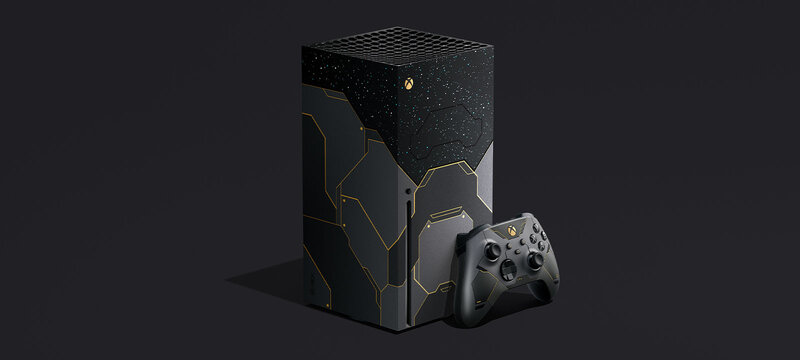Halo-teemainen xbox series x konsoli ja ohjain