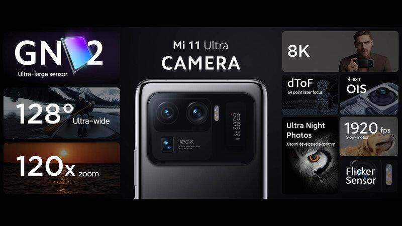 Mi 11 Ultran takakameroiden tiedot