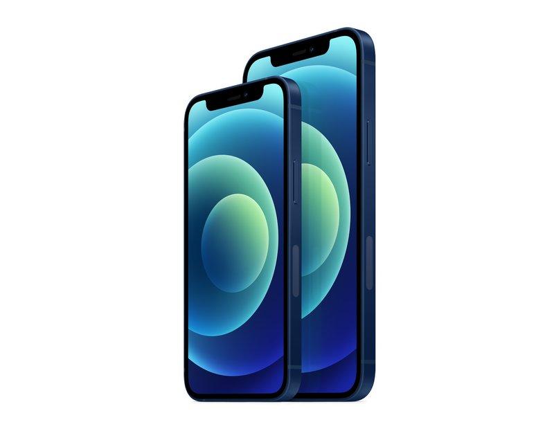 iPhone 12 mini ja iPhone 12 sinisessä värissä