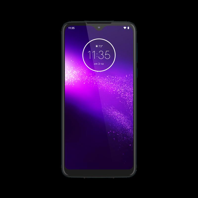 Motorola One Macro näytössä on kapeat reunat