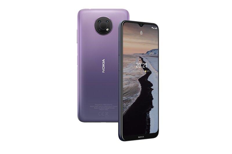 Nokia G10 kuvattuna edestä ja takaa
