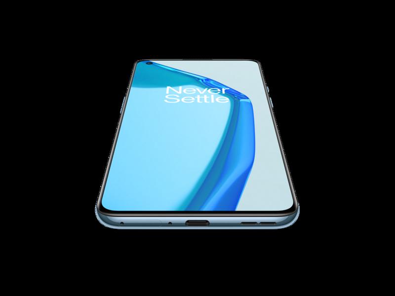 OnePlus 9 sinissä värissä kuvattuna edestä