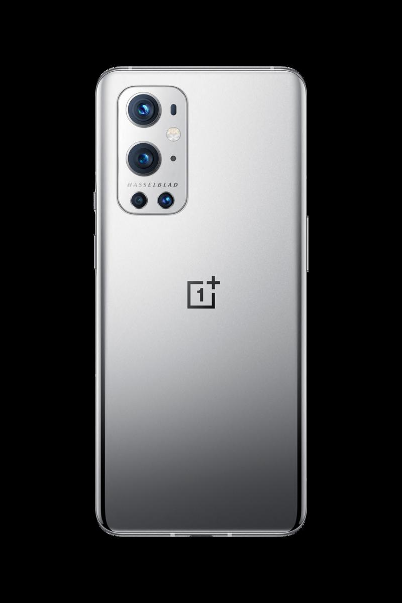 OnePlus 9 Pro takaa kuvattuna harmaassa värissä Hasselblad-logon kanssa