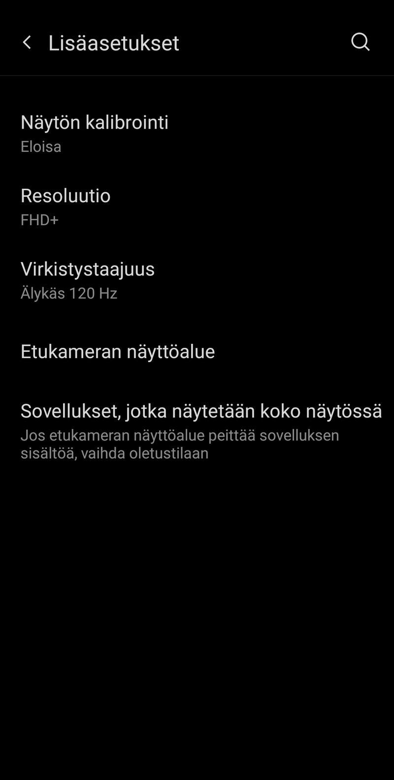 OnePlus 9 Pro näytön lisäasetukset