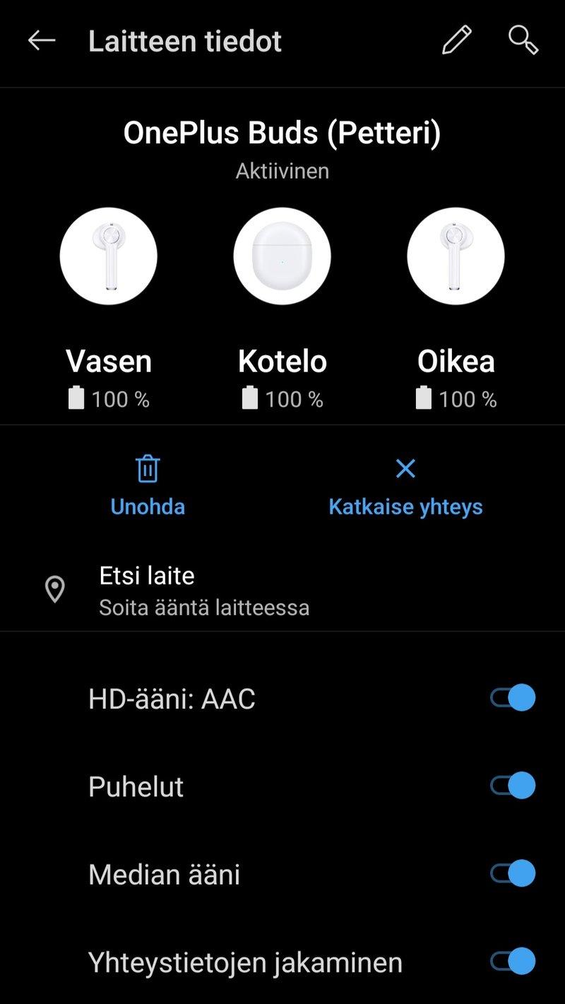 OnePlus Buds, kuulokkeiden asetukset