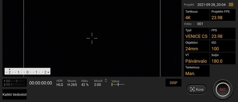 Sony Xperia 5 III Cinema Pro -sovelluksen perusnäkymä