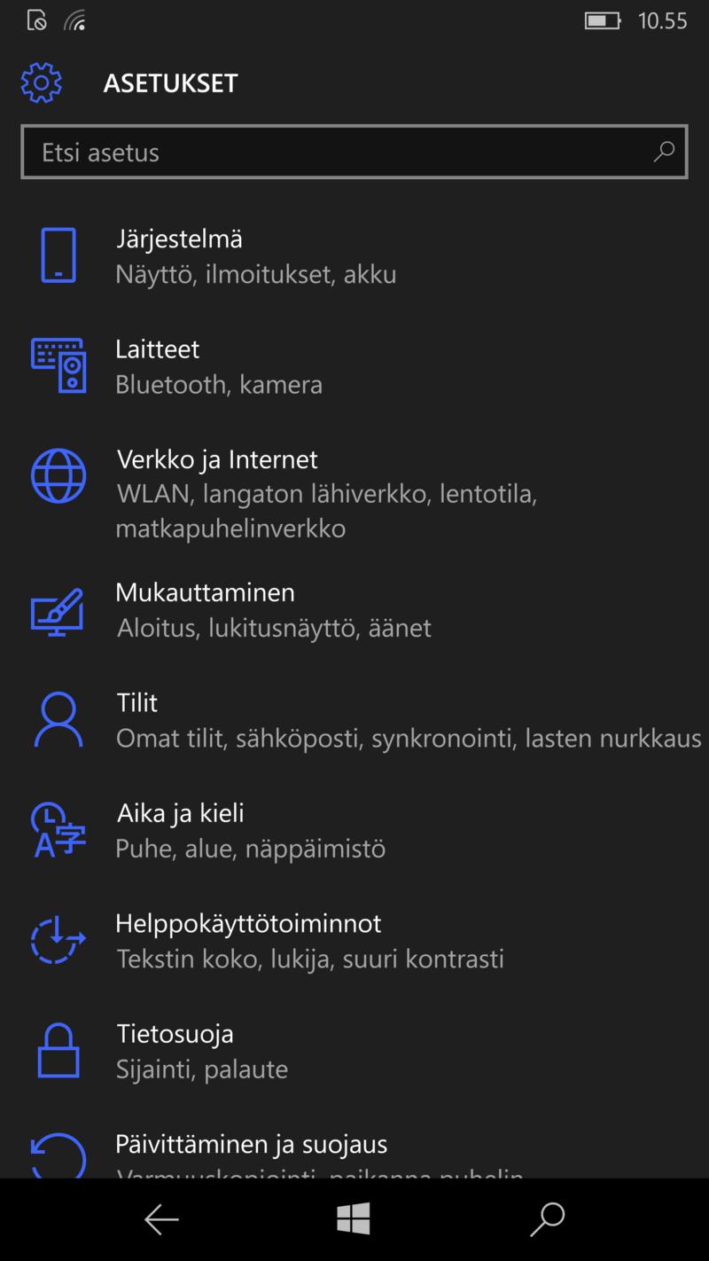 Windows 10 Mobile - Asetukset