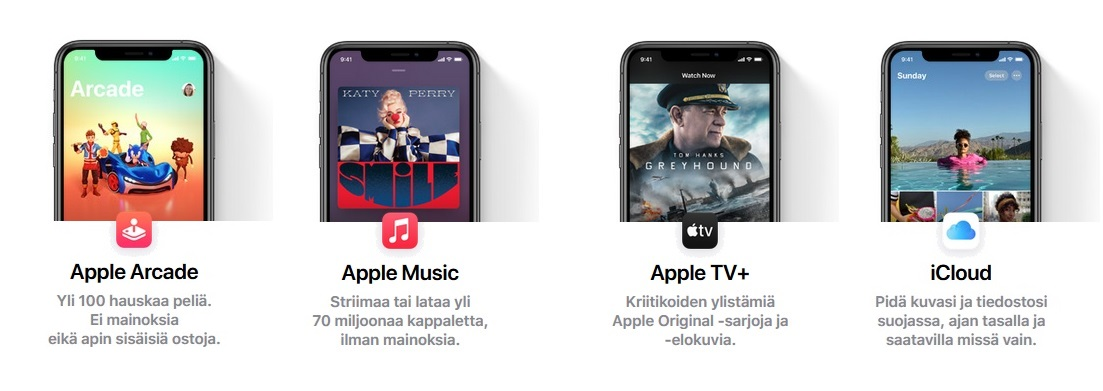 Apple One pakettiin kuuluu neljä palvelua