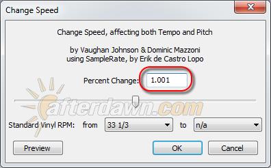 Audacity Change Speed dialog - AfterDawn.com