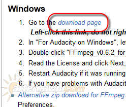 The Audacity download page for FFmpeg and LAME - AfterDawn.com