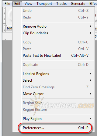 Open Audacity's Preferences - AfterDawn.com