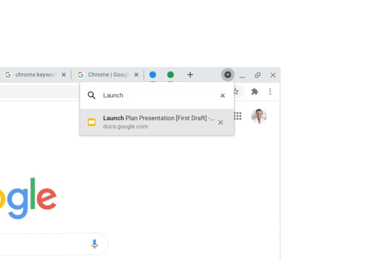 Chrome 87:n uusi hakutoiminto välilehdille
