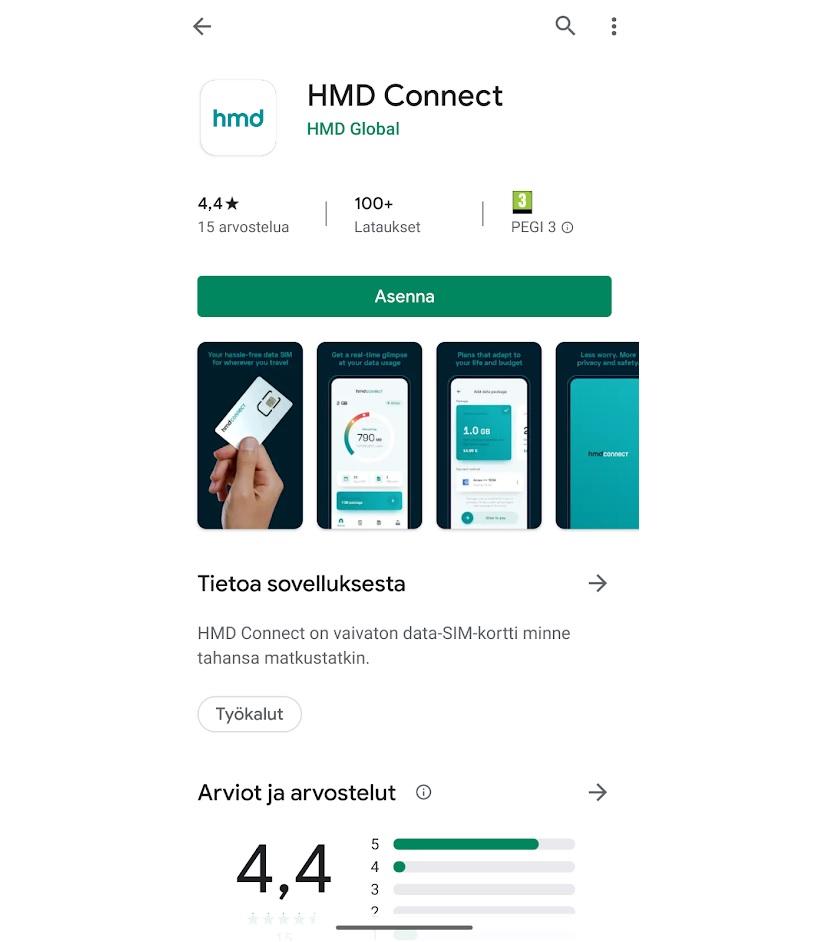HMD Connectin saa ladattu google play sovelluskaupasta