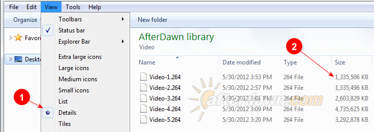 Viewing the size of your encoded videos in Windows Explorer - AfterDawn.com