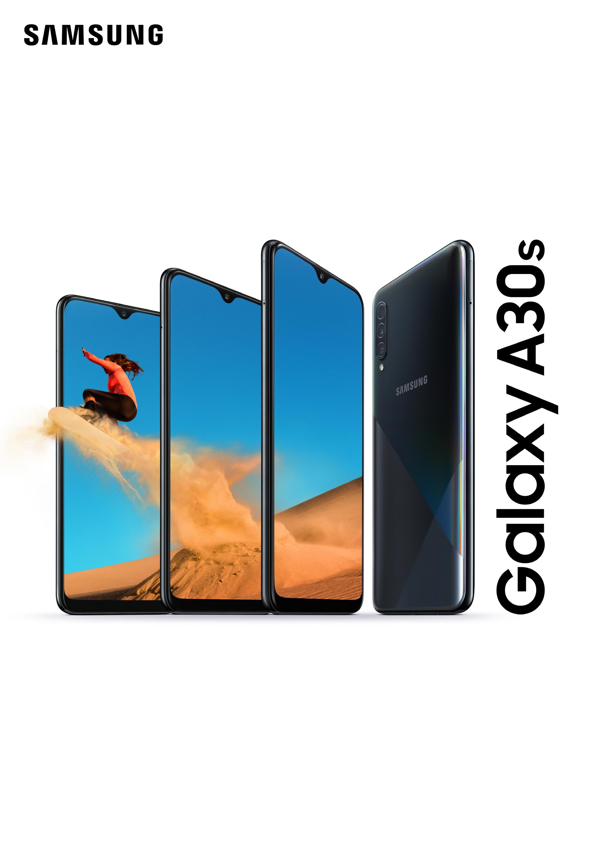 Samsung Galaxy A30s puhelimen ulkonäkö edestä ja takaa