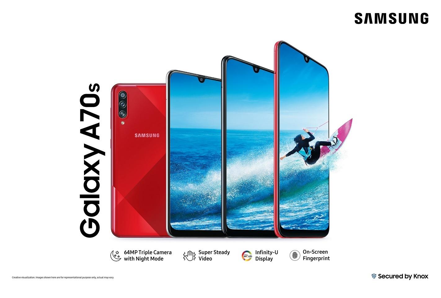 Samsung Galaxy A70s puhelin edestä ja takaa