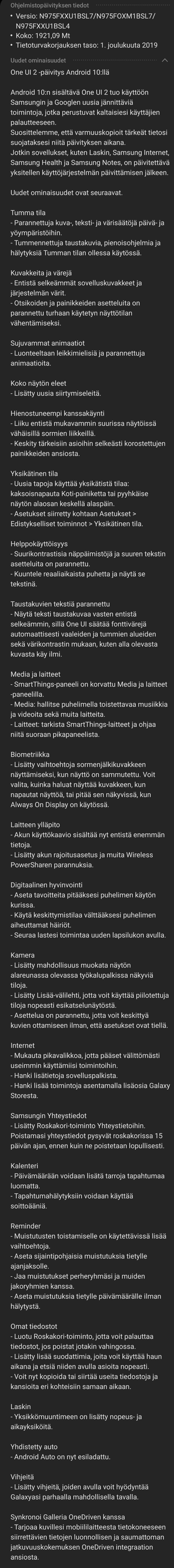 Kaikki Android 10 mukana tulevat ominaisuudet Galaxy Note10