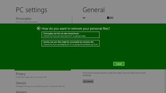 Windows 8 Reset interface - AfterDawn.com