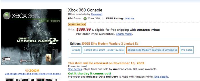 Modern Warfare 2' Xbox 360 bundle gets price, release date
