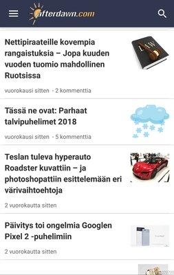 AfterDawnin sovellus Androidille, uutislistaus