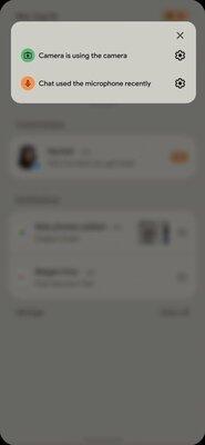 Android 12 ilmoittaa, jos kamera tai mikrofoni ovat käytössä