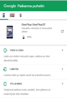Etsi kadonnut Android-puhelin