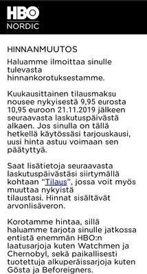 Tiedote HBO:n hinnankorotuksista Suomessa