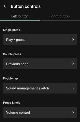 Jaybird Vista 2, kuulokkeiden painikkeiden säädöt