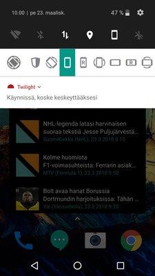 Androidin näyttö pystysuunnassa