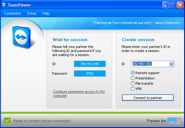 Remote Assistance with TeamViewer (Remote Desktop, File