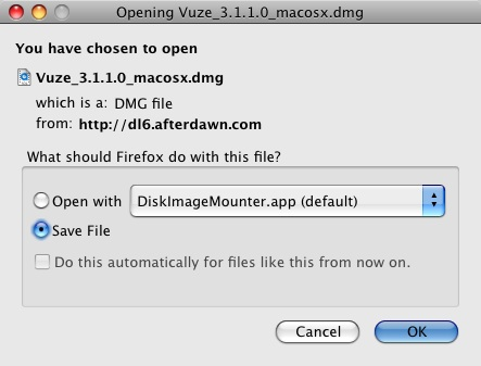 Downloading software from the Downloads section (Mac OS X
