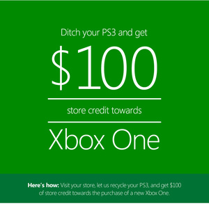 Microsoft offering $100 off Xbox One if you trade in working PS3, slim Xbox 360