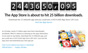 Apple App Store reaching 25 billion downloads